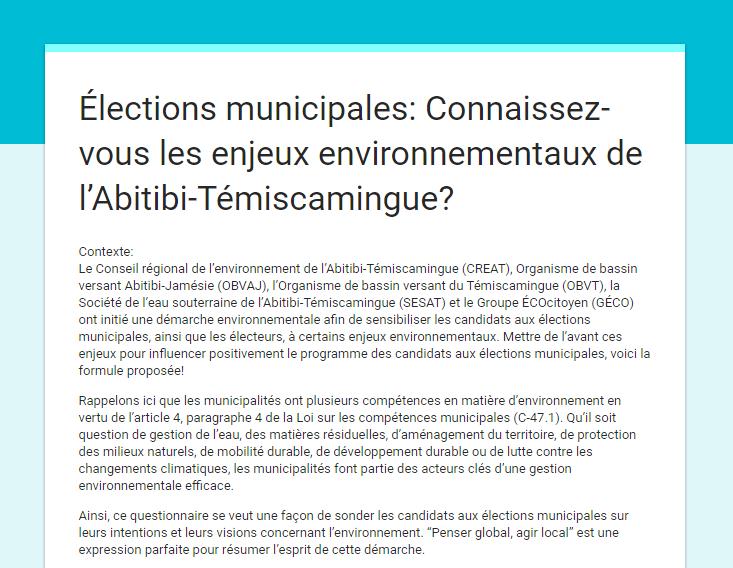 COMMUNIQUÉ DE PRESSE: L'environnement au coeur des élections municipales – Penser global, agir local – Bilan des réponses des candidats
