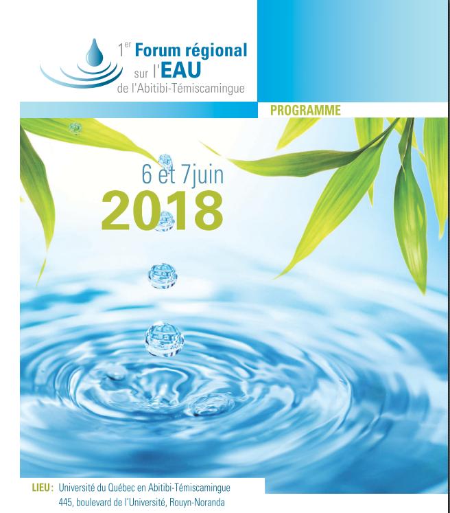 L'OBVAJ, l'OBVT, l'AFAT et l'IRF célèbrent le mois de l'eau en organisant le                                            1 er  Forum régional sur l'eau en Abitibi-Témiscamingue