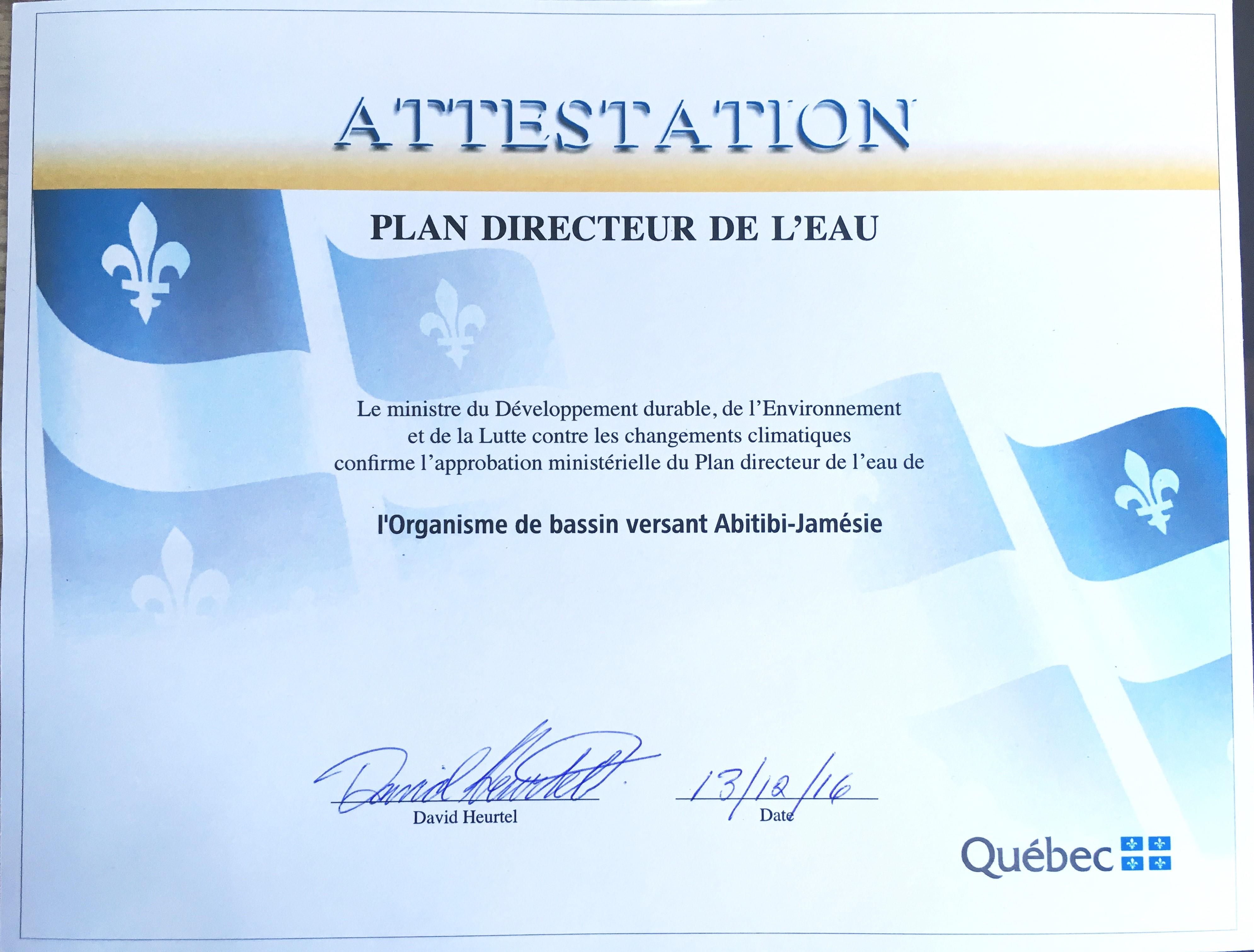 Le Plan directeur de l'eau de l'OBVAJ obtient le sceau officiel du gouvernement du Québec !